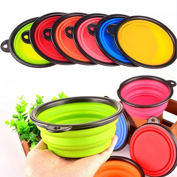 Portable Pet Dog Cat Feeding Bowl Camping Silicone Folding Bowl Water Food Dish