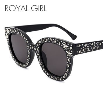 abd6c8b37a2 ROYAL GIRL Women Rhinestone Sunglasses Women Italy Brand Designe