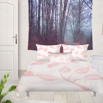 Duvet Cover Set - 4 different sizes, Without Insert, Bedroom, Home decor, Pink, White, Leaves, Floral, Spring, With or Without Shams, Nature