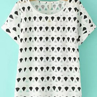 Black and White Sheer Mesh Geometric Print Top
