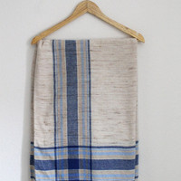 Vintage Linen Baby and Navy Blue Picnic or beach Blanket