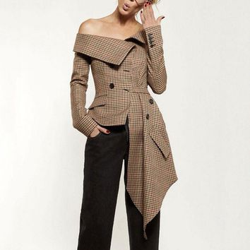 New Women Blazers Coat Long Sleeve Asymmetric Plaid New Slash Neck Lady Office Brown Jackets Coat Casual Outfits