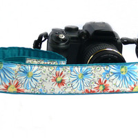 Floral dSLR Camera Strap.Orange and Blue Camera Strap. Women accessories