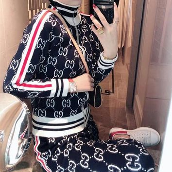 Gucci Turtleneck Zip Long Sleeve  Geometric Stitching Edgy Fashion Two-Piece Suit Clothes