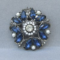 Magnificent Big Signed WEISS Sapphire Blue & Faux Pearl Silver Tone Vintage Pin
