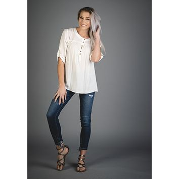 Button Up Blouse with Roll Tab Sleeves Off White