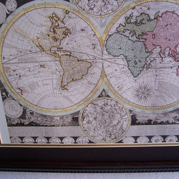 Vintage Framed WORLD MAP with ZODIAC   22.75 x 18.75