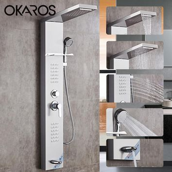 OKAROS Waterfall Rain Shower Faucets Nickel Brushed Shower Panel With Hand Shower Bathroom Sheft Tub Spout Tower Shower Column