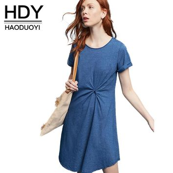 Preppy Dress Summer Short Sleeve A-Line Blue Women Clothing High Waist Draped O-neck Mini Dress