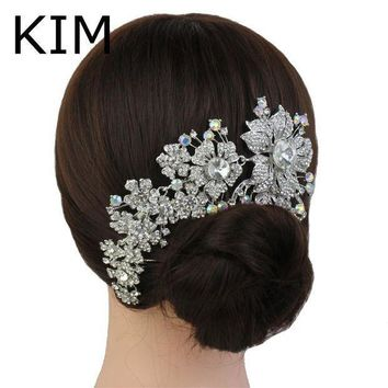 2015 Promotion Tiara Noiva Winsome Wedding Hair Comb Bridal Accessories Vintage Comb Rhinestone White Side Tiara Crystals
