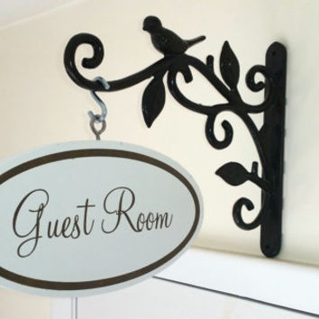 Shabby Chic Wall Hanging Room Sign Wrought Iron Guest  Bathroom Powder Bedroom Photo Prop Wedding Home Decor Cottage Personalized Custom