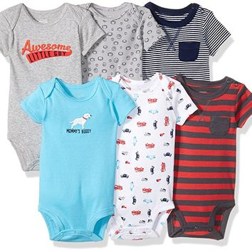 Baby Boys' 6-Pack Short-Sleeve Embellished Bodysuit