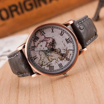 unisex vintage world map printed leather strap band watch 2