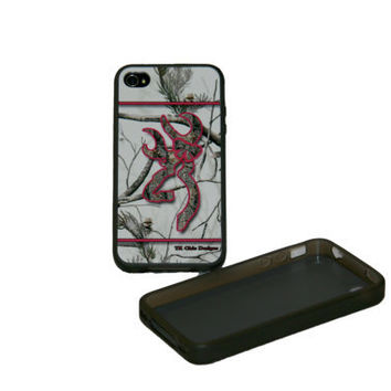 TK Chic Designs custom cell phone cases, with a snow camo background and a custom camo buck and bow trimmed in hot pink
