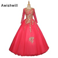 Custom Made Gold Lace Hot Pink Ball Gown Prom Dresses 2018 New Style Floor Length Long Party Dress Gown Sweet 16 Dresses