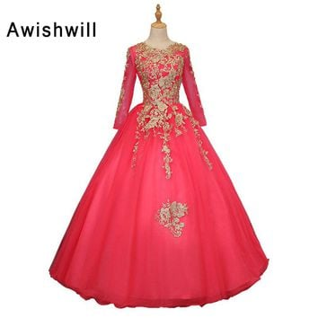 ec51d7b183 Custom Made Gold Lace Hot Pink Ball Gown Prom Dresses 2018 New S