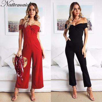 NATTEMAID Rompers Womens Jumpsuit 2018 Summer Slash Neck Strapless Off Shoulder Bodysuit Sexy Club Casual Black Red Overalls