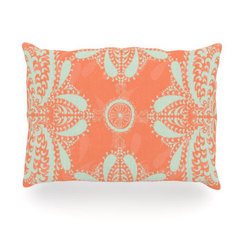 "Nandita Singh ""Motifs in Peach"" Orange Floral Oblong Pillow"