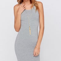 Grey Sleeveless Bodycon Mid Dress with Metal Zipper