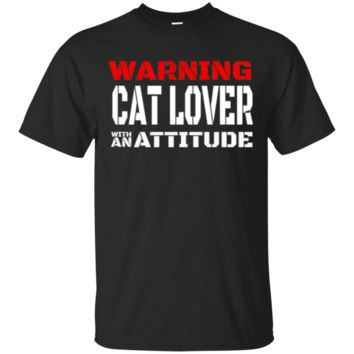 Custom Tee Cat Lover With Attitude-Red