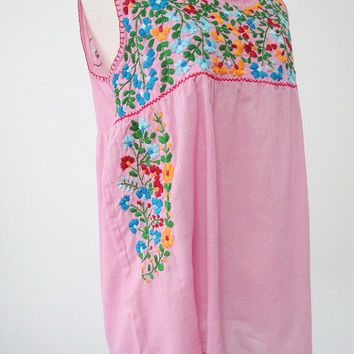 Embroidered Mexican Blouse Sleeveless Cotton Top In Pink, Bohemian Style, Boho Top