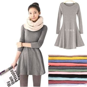 2018 New Fashion Clothes Spring Women Dress Cotton  Autumn Winter Dress Female Long Sleeve Dress O-Neck Woolen Dresses DR276