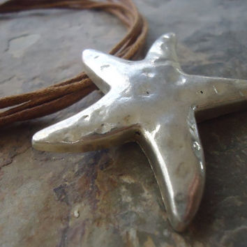 BIG STARFISH necklace collar with brown bands