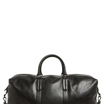 Men's Ben Minkoff 'Wythe' Perforated Leather Duffel Bag - Black