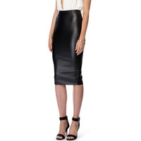 Black Leather Back Slit Pencil Skirt