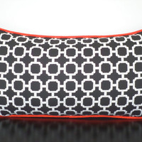 Black and white outdoor lumbar cover 21x11 , black and orange outdoor bench cushion, geometric patio chair pillow cover, beach house decor