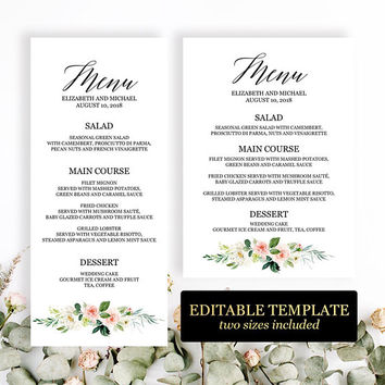 Wedding menu template 4x9, 5x7, Edit yourself, Bridal shower menu template, Printable menu cards, Blush pink greenery wedding menu, Download