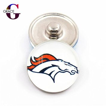 Sports Charms Denver Broncos Football Team 18mm Replaceable Ginger Glass Snap Buttons Fit Snap Women Bracelets&Bangles Jewelry