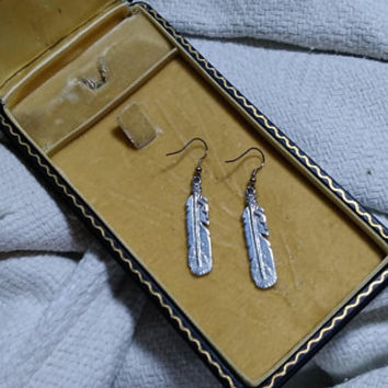 Long Vintage Dangle Drop Handmade Pewter Detailed Southwestern  Detailed Indian Feather Silver Ear Wire Pierced Earrings  Boho All Occasion
