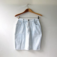 80s bleached out jean skirt. high waisted skirt. mini skirt