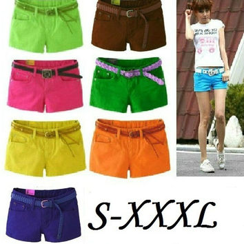 Summer 2015 Denim Shorts Slim Fit Candy Color  Short Pants Plus Size XXXL Short Jeans Women Shorts Denim = 4824095236