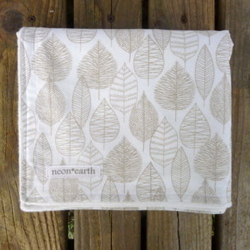 Organic Baby Blanket, Gender Neutral, Woodland Nursery, Leaf Blanket