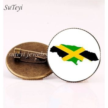 SUTEYI Trinidad and Tobago/Jamaica Flag Art Picture Pins Brooch Saint Vincent and the Grenadines/Guatemala Badge Glass Brooches