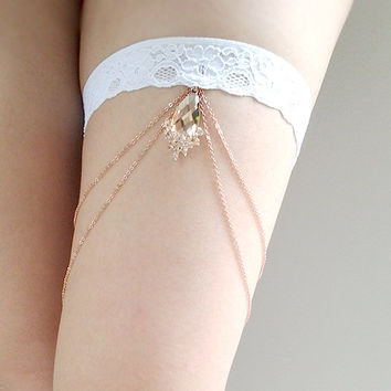 Rose Gold Bridal Chain Garter wedding garter bridal garter rustic wedding beach wedding boho wedding theme wedding