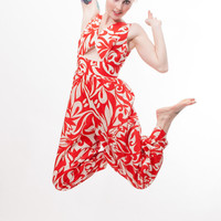 Vintage Jumpsuit - 70s Jumpsuit - Red and White Swirl