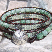 Leather Wrap Bracelet Green Beaded Bracelet Bohemian Jewelry Seafoam Green Wrap Bracelet for Women Mint Brown Leather Wrap Boho Bracelet