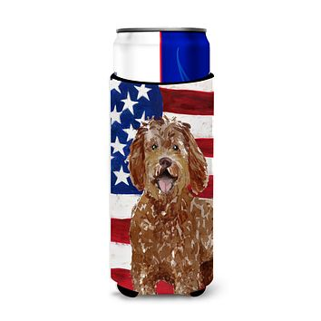 Patriotic USA Labradoodle Michelob Ultra Hugger for slim cans CK1726MUK