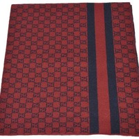 DCCKNY1 Gucci Men's Burgundy Red Wool Web Stripe GG Guccissima Scarf Muffler