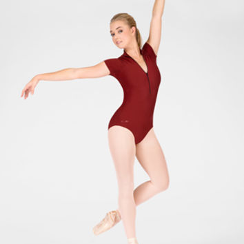"Free Shipping - ""Dacha"" Adult Short Sleeve Zip Leotard by WEAR MOI"