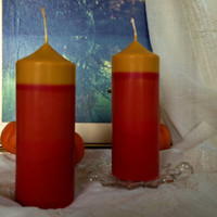 """Fall colors soy pillar candle with dome shaped head,  orange and yellow soy pillar candle scented with """"autumn leaves"""""""