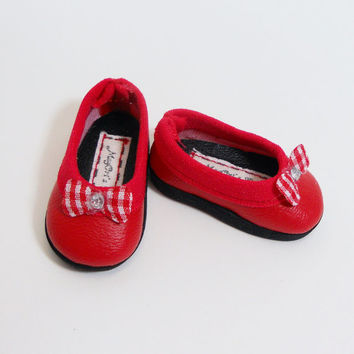 "14"" Hearts 4 Hearts Doll Shoes Slip On Flats Red fit Les Cheries Dolls - By MegOri's Dolls Boutique"