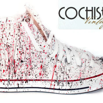 Custom Converse Chuck Taylor All Stars, Splash Paint Chuck Taylors, Red/Black Chuck Taylors