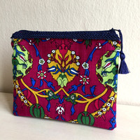 Ethnic Cosmetic Bag,Floral Make up bag,Linen Zippered Pouch,Fabric Clutch,Boho Clutch bag,Ethnic zipper pouch,pink zipper pouch,coin purse