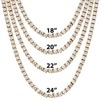 """3mm 18""""-24"""" Rose Gold Finish One Row Tennis Hip Hop Chain"""