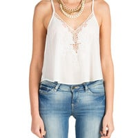 Lush Clothing - Cut Out Embroidery Tank - White
