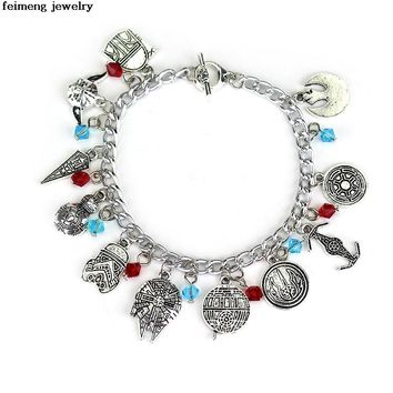 Hot Movie Star Wars And Alice in Wonderland Freeshipping 20pc a lot Docter Who charm charm Bracelet Can Be Mixed